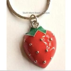 """Jewelry - Silver Strawberry Necklace Chef Bakery Gift 18"""""""